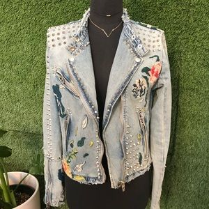 Blank NYC studded embroidered jacket